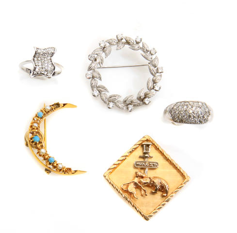 A group of 3 diamond, gem-set and gold brooches and 2 rings