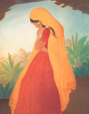 Abdur Rahman Chughtai (Pakistan, 1897-1975) Untitled (Hasrat stare), circa 1960