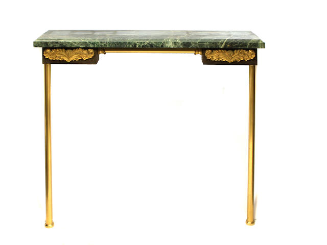 An Empire style gilt bronze and marble console