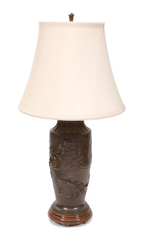 A large Japanese bronze vase now as a table lamp