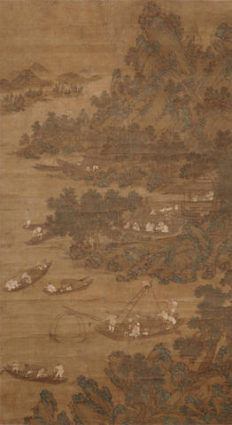 Anonymous (17th-18th century) Joy of Fishing, ink and color on silk, hanging scroll
