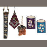 A group of five embroidered silk accessores, including a fan case, a pouch and three card cases  [5]