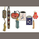 A group of six embroidered cloth accessories, including one fan case, one eyeblass case, one pouch and three pockets