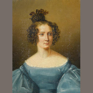 French School, 19th Century A portrait of a lady, half-length, in a blue dress 9 1/2 x 7 1/2in
