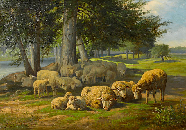 F. Seller Sheep in a meadow 14 x 20in