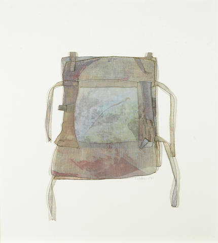 Sue Williams (American, b. 1954), Shard (cloth backpack), signed in pencil (lower right), dated '81 and inscribed 'Shard' (on verso), pieced gauze stained with dye, 8 x 7 1/2in