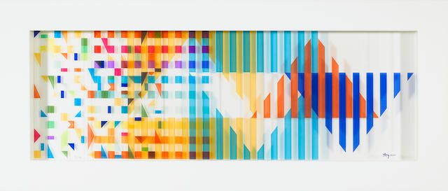 Yaacov Agam (Israeli, b. 1928), Abstract geometric composition, signed 'Agam' (on one panel) and numbered '92/180' (on back), moveable colored plastic, 13 x 30 1/2in