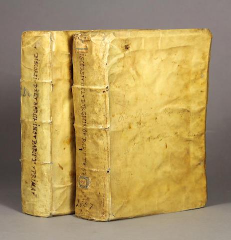 BORGHINI, VINCENZO MARIA. 1515-1580. Discorsi.... Florence: Filippo & Jacopo Giunti, 1584-85.