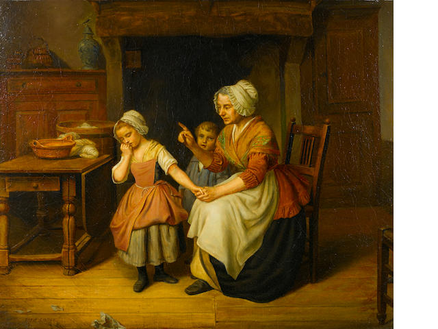 Basile de Loose (Belgium, 1809-1885) Misbehaving children 20 1/4 x 24 1/4in