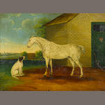 English Primitive School A horse and a dog outside a stable 18 x 24in
