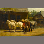 Willem Carel Nakken (Dutch, 1835-1926) Shoeing horses outside a stable 14 1/2 x 22 1/2in