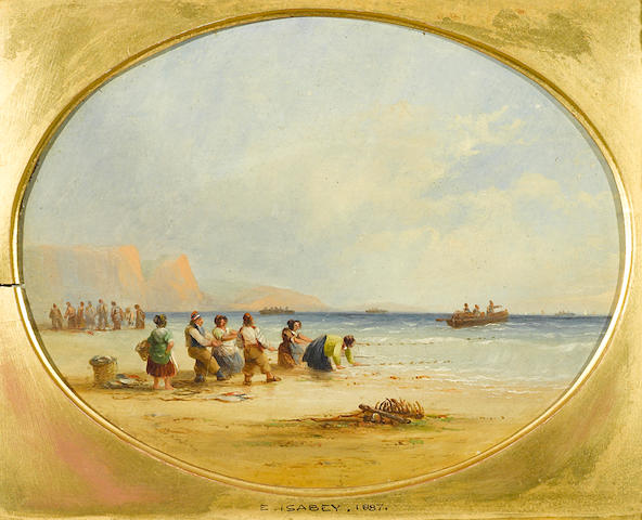 Follower of Louis Gabriel Eugène Isabey (French, 1803-1886) Fisherfolk hauling in nets on the beach oval 8 3/4 x 7in