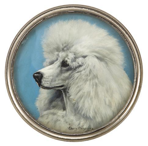 Edwin Megargee (American, 1883-1958) Portrait of a Poodle diameter 9in (22.8cm)