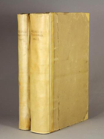 HICKES, GEORGE, 1642-1715. Linguarum Vett. Septentrionalium Thesaurus Grammatico-Criticus et Archaeologicus. Oxford: Sheldonian Theatre, 1705.<BR />