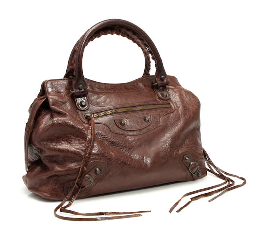 A Balenciaga brown leather handbag