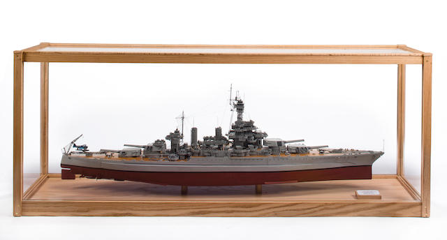 An exhibition standard model of the American battleship U.S.S. Colorado  Modern 70-3/4 x 18-3/4 x 28 in. (179.7 x 47.6 x 71.1 cm.) cased.