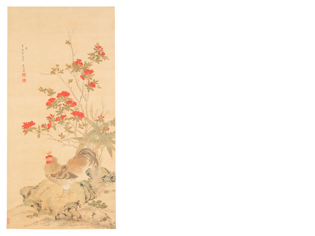 After Jiang Tingxi (1669 - 1732) Rooster on Rock