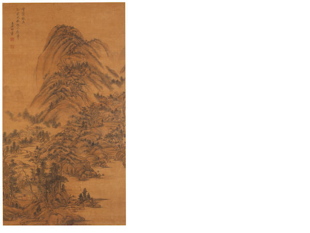 Attributed to Wang Yuanqi (1642 - 1715) Landscape with Huts