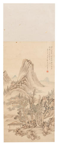 Zhang Geng (1685 - 1760) Landscape with Hut 1750