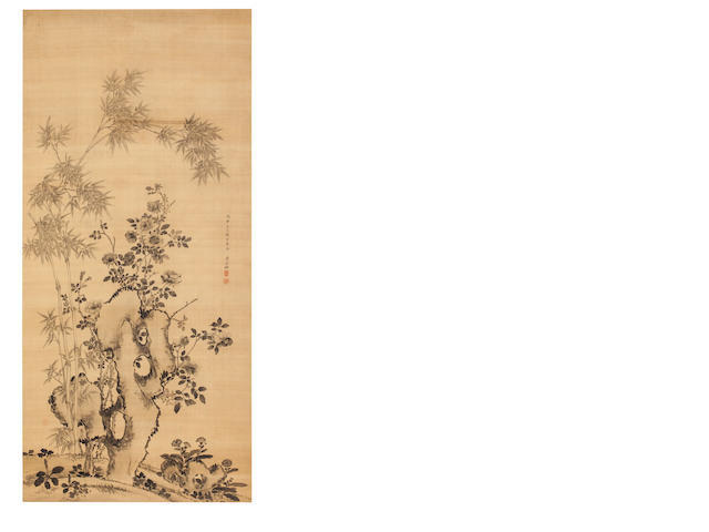 Attributed to Jiang Tingxi (1669 - 1732) Bamboo, Roses and Rock