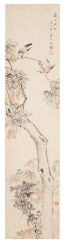 Qu Zhongrong (1769 - 1842)  Bulbuls and Chrysanthemums