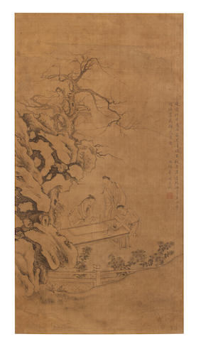 Hua Guan (1740 - 1819) Scholars Painting at a Table in a Garden