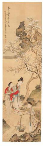 Feng Ji (active 1796 - 1820) Ladies in a Garden with Flowering Tree