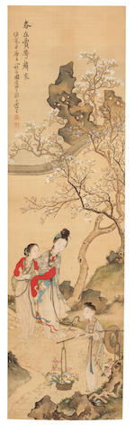 Feng Ji (active 1796 - 1820) Ladies in a Garden with Flowering Tree