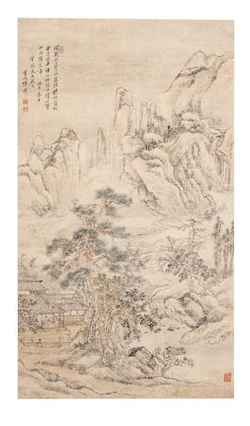Zhang Xi (active mid - late 18th Century) Scholar in Hut Gazing at the Mountains, 1786