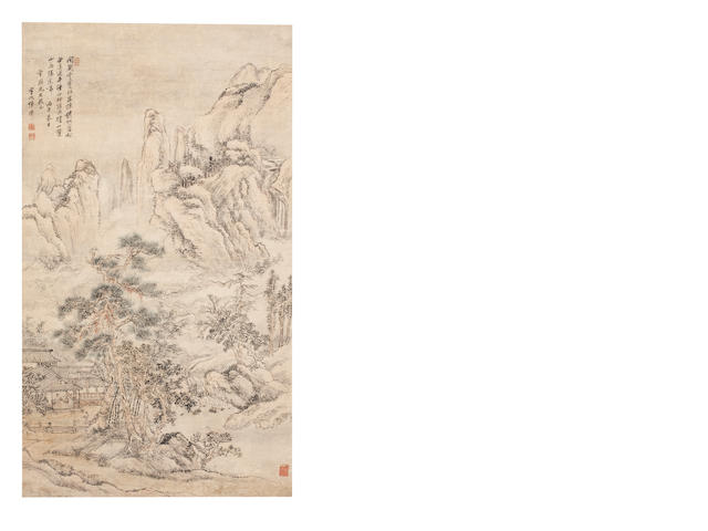 Zhang Xi (active mid - late 18th Century) Scholar in Hut Gazing at the Mountains 1786