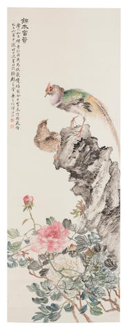 Lu Hui (1851 - 1920) Group of Five Scrolls of Birds and Flowers