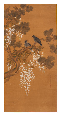 After Ma Quan (active 18th Century) Mynah birds on Branch with Wisteria 1732