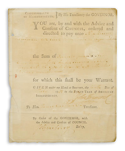 "HANCOCK, JOHN.  1727-1793. Document Signed (""John Hancock""), partially printed and accomplished in manuscript, 1 p, small 4to, Boston, July 10, 1781,"