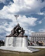 Felix de Weldon, (American, 1907- 2003)  The Original Iwo Jima Monument, sculpted in Washington D.C., June –  September, 1945 Height (with the Flag) 20 feet; (without Flag) 12 feet 2 in. Length 18 feet 7 in. Width 8 feet 1in. Weight 10,000 lbs.