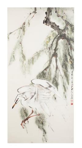 Zhao Shao'ang, (1905-1998) Egret, 1968