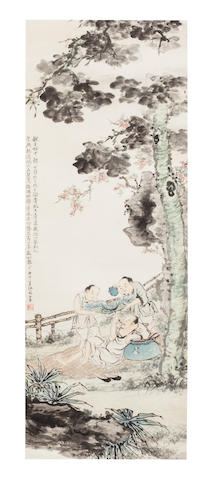 Jiang Hanting (c. 1902-1963) Figures beneath the wutong tree, 1930