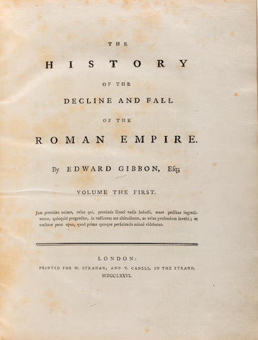 GIBBON, EDWARD. 1737-1794. The History of the Decline and Fall of the Roman Empire. London: W. Strahan and T. Cadell, 1776-1788.