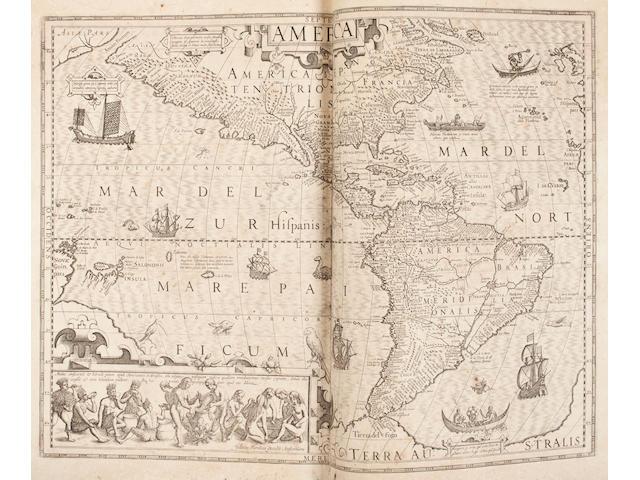 MERCATOR, GERARD, AND JODOCUS HONDIUS. Atlas sive cosmographicae meditationes de frabrica mundi et fabricati figura. Amsterdam: I. Hondius, [1619].