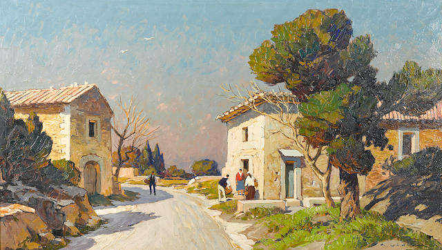 "Georges Vidal, French Village, oil, 24"" x 42"""