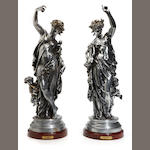 Two silvered metal figures