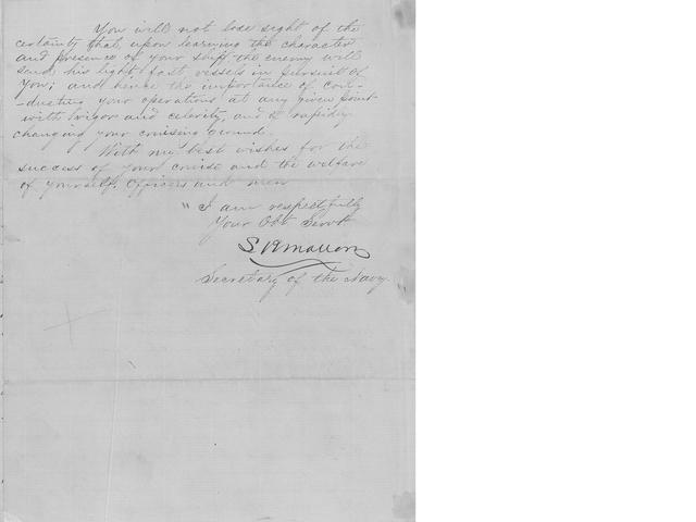 "MALLORY, STEPHEN RUSSELL. 1812-1873. Letter Signed (""S. Mallory"") as Secretary of the Navy, 3½ pp recto and verso, 4to, Richmond, July 23, 1864,"