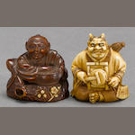 One boxwood and one ivory figural netsuke<BR />Meiji period