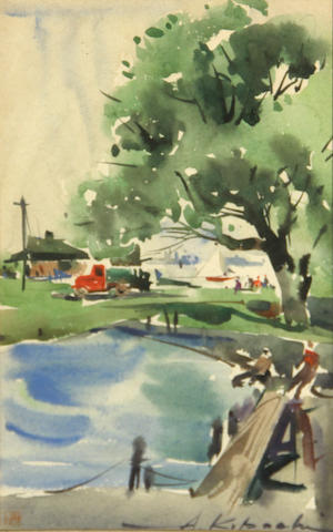 A. Kobachi (American, 20th Century) Waterfront scene sight: 8 1/2 x 5 1/2in