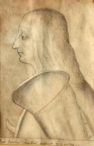 Italian School, Portrait of a man in profile, pen/ink/wash/paper