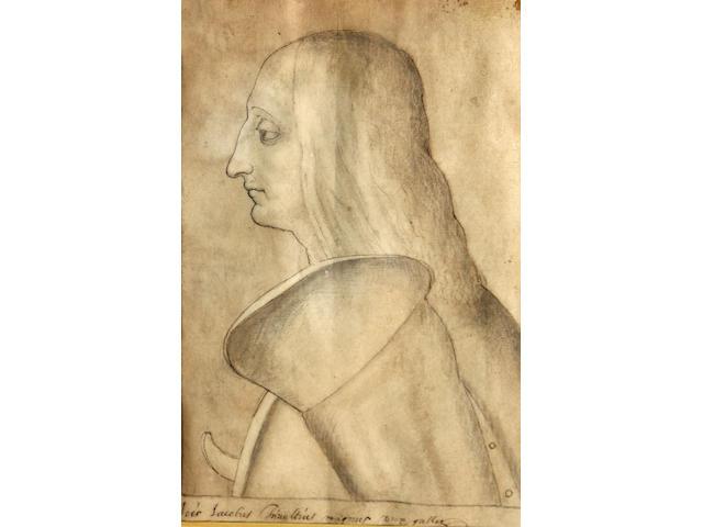Italian School, 18th(?) Century A portrait of a man in profile 9 1/2 x 6in unframed