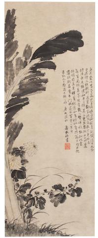 Attributed to Bian Shoumin (1684-1752) Chrysanthemum and Banana Leaves 1730