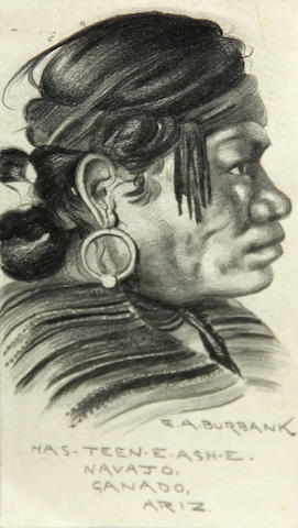 Eldridge Ayer Burbank (American, 1858-1949) Portrait of Has-Teen-E-Ash-E, Navajo 7 x 3 3/4in