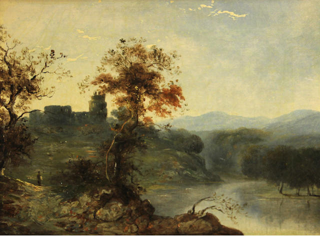 English School, 19th Century A river landscape with a castle in the distance; also a companion landscape (a pair) each 12 1/4 x 16 1/4in