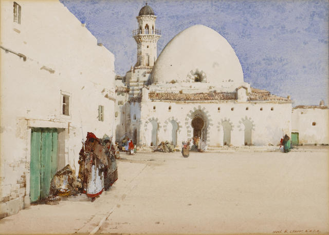 Noel Harry Leaver, ARCA (British, 1889-1951) A mosque in Algeria; An arched entrance to a street (2)  each, sight 10 x 14 1/4in