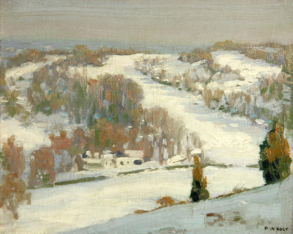 Percy William Holt (American, 1881-1958) Gray skies and snow field 8 1/2 x 10 1/2in